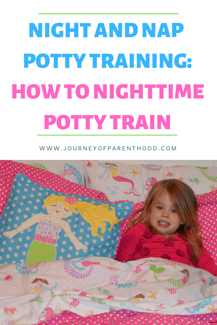 pinterest image: girl in bed nap potty training