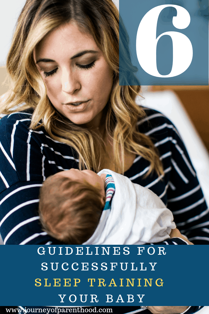 pinterest image: mother and baby sleep training guidelines