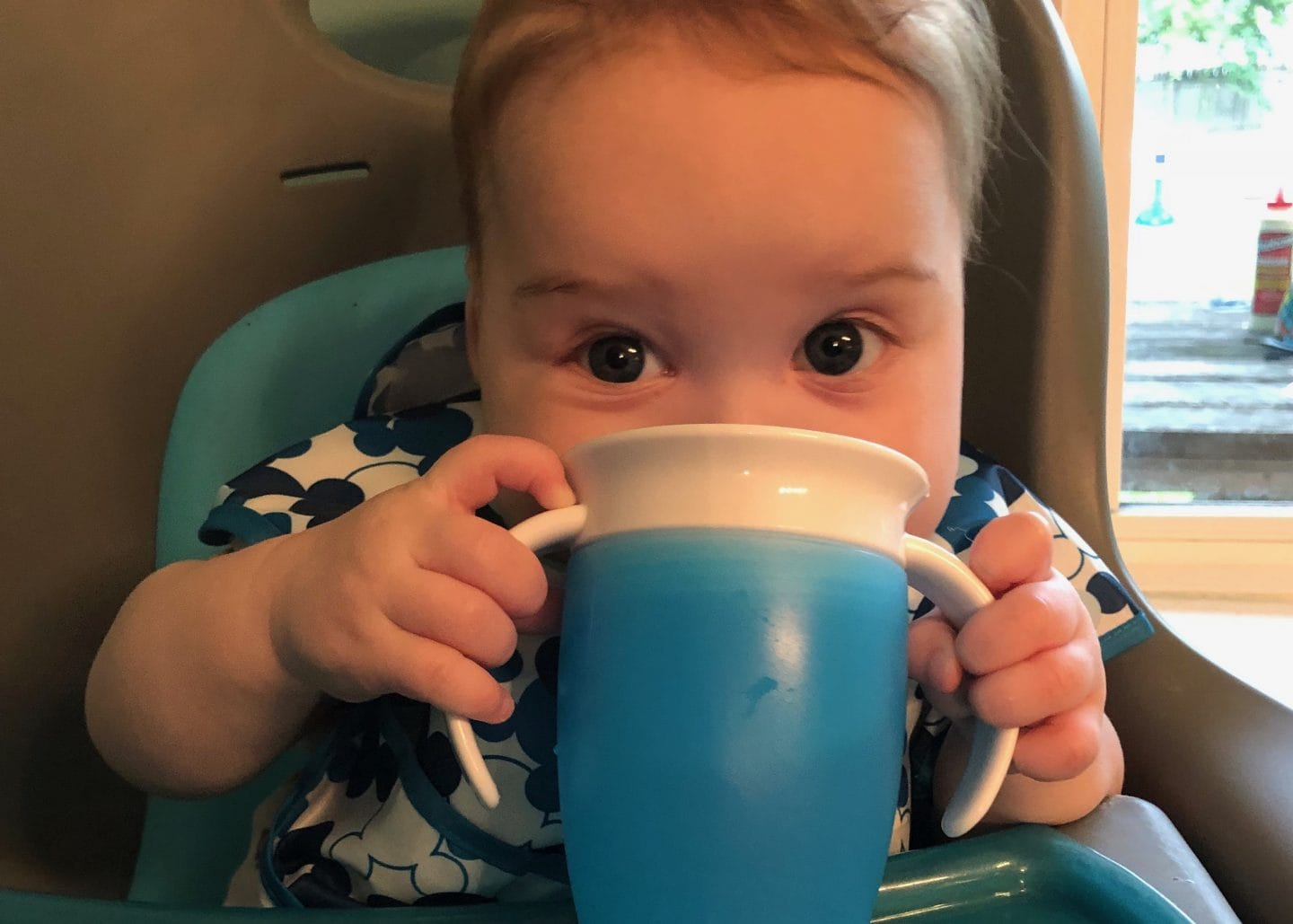 baby drinking from sippy cup using blw method in high chair