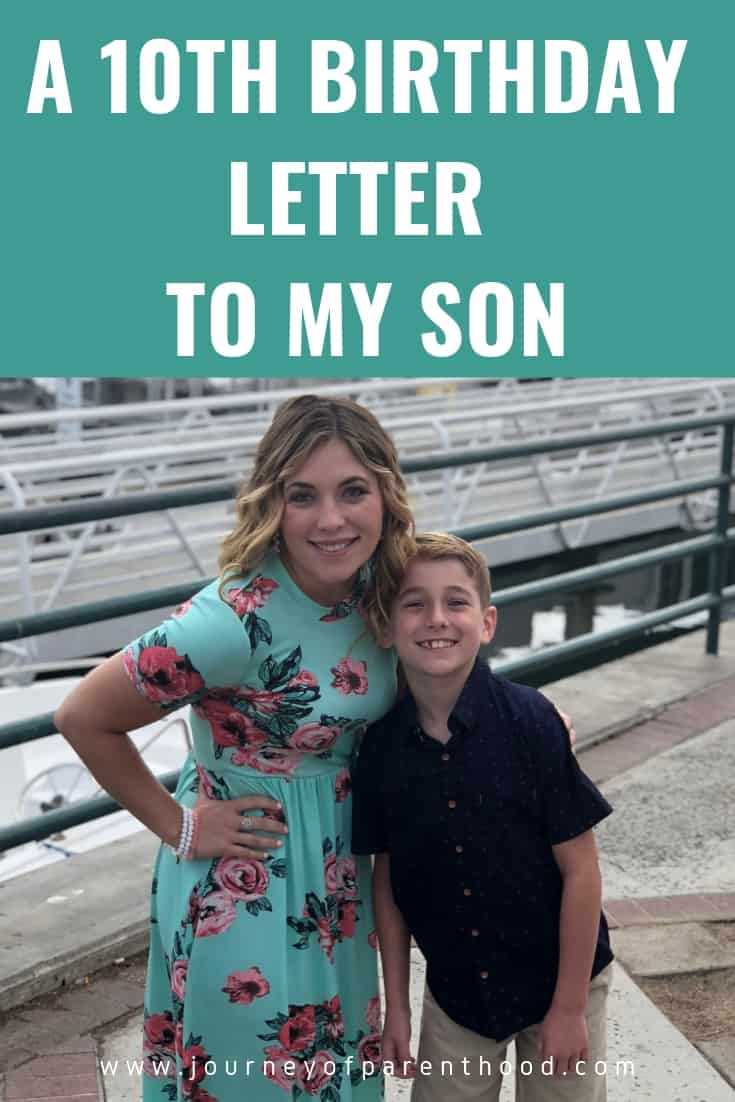 a 10th birthday letter to my son
