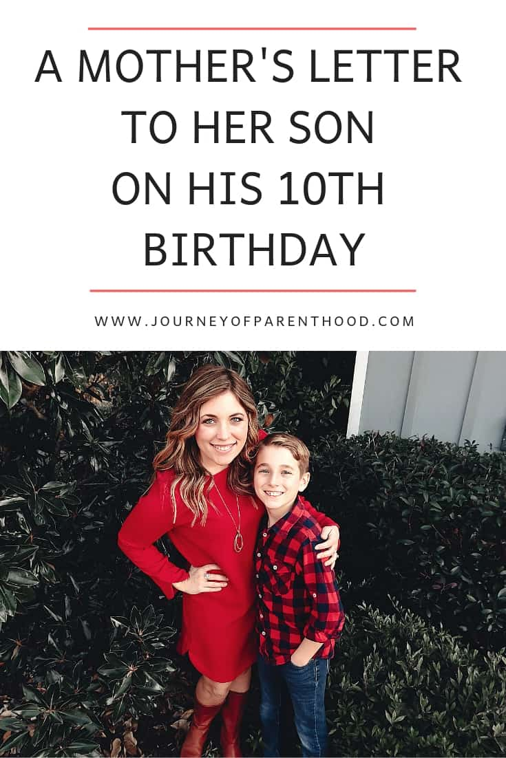 a mother's letter to her son on his 10th birthday