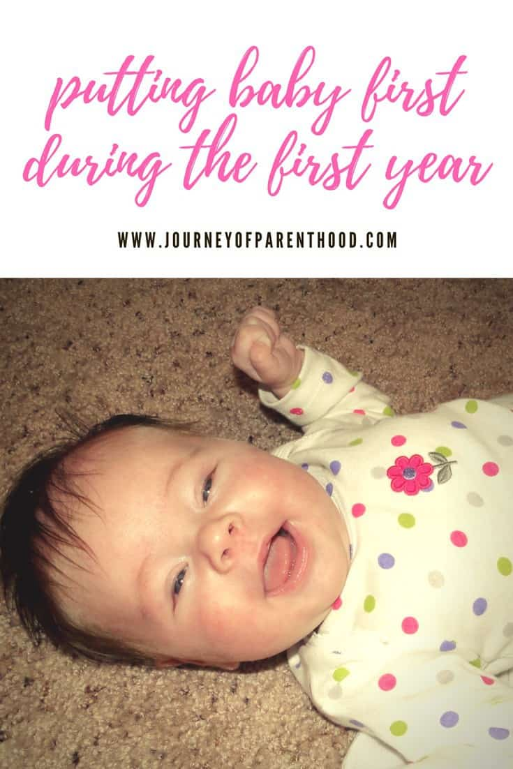 pinterest image putting baby first during the first year