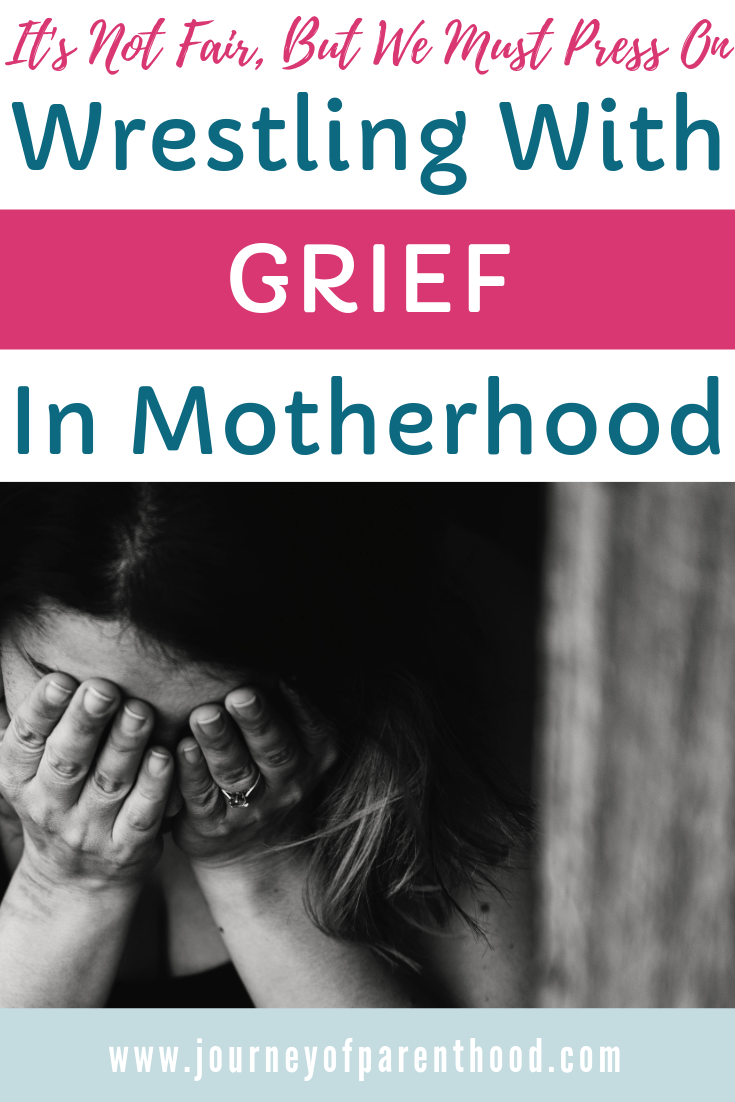 "pinable image: woman crying ""wrestling with grief in motherhood"""