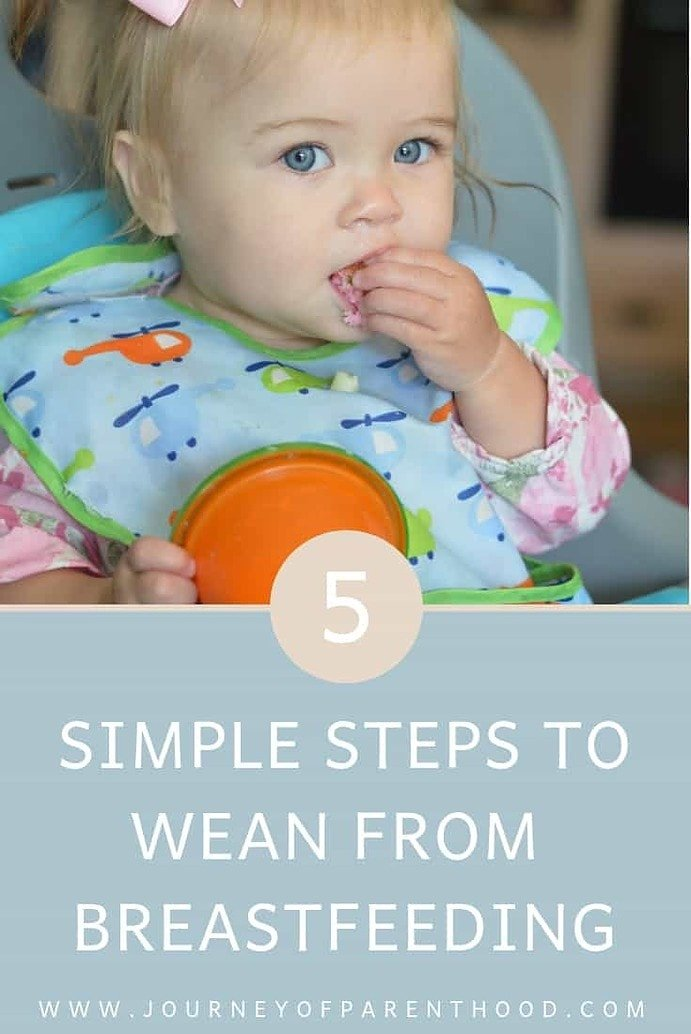 pinable image: 5 steps to wean from breastfeeding