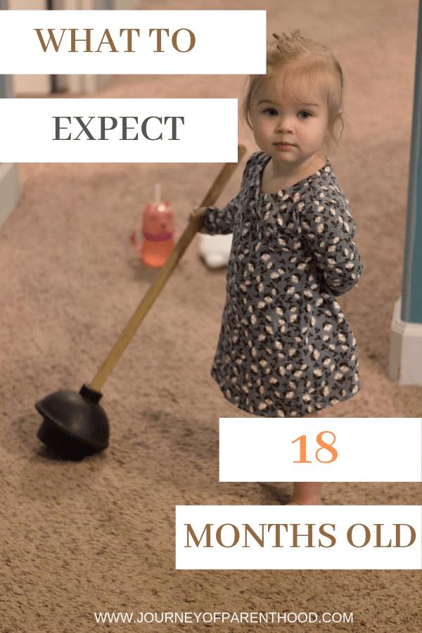 18 month old toddler girl holding plunger