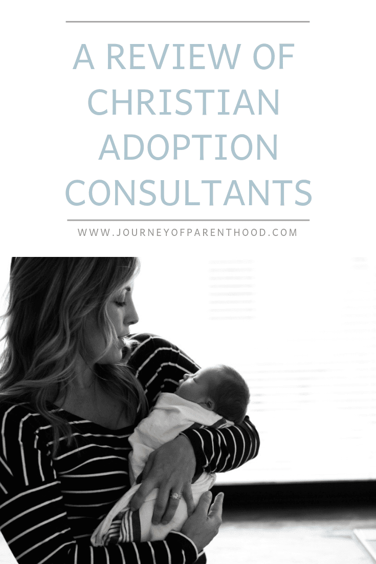 "Mom Holding Baby - Text Reads: ""A Review of Christian Adoption Consultants"""