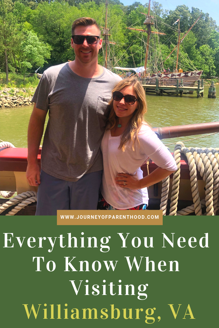 """couple on a boat in Jamestown Settlement. Text says """"everything you need to know when visiting Williamsburg, VA"""""""