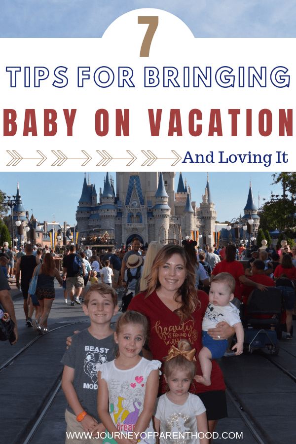 mom with four kids at magic kingdom - text overlay 7 tips for traveling with baby