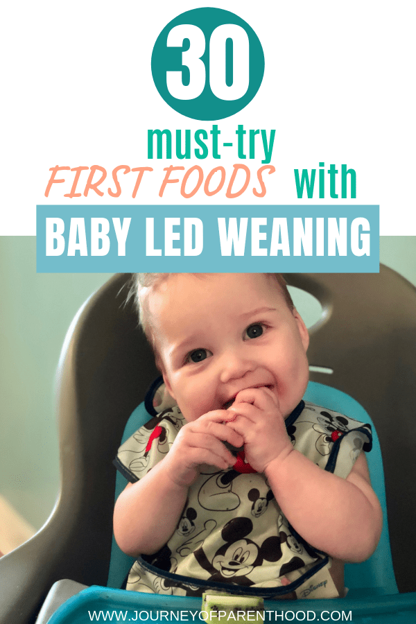 baby boy eating text reads 30 must try first foods with baby led weaning