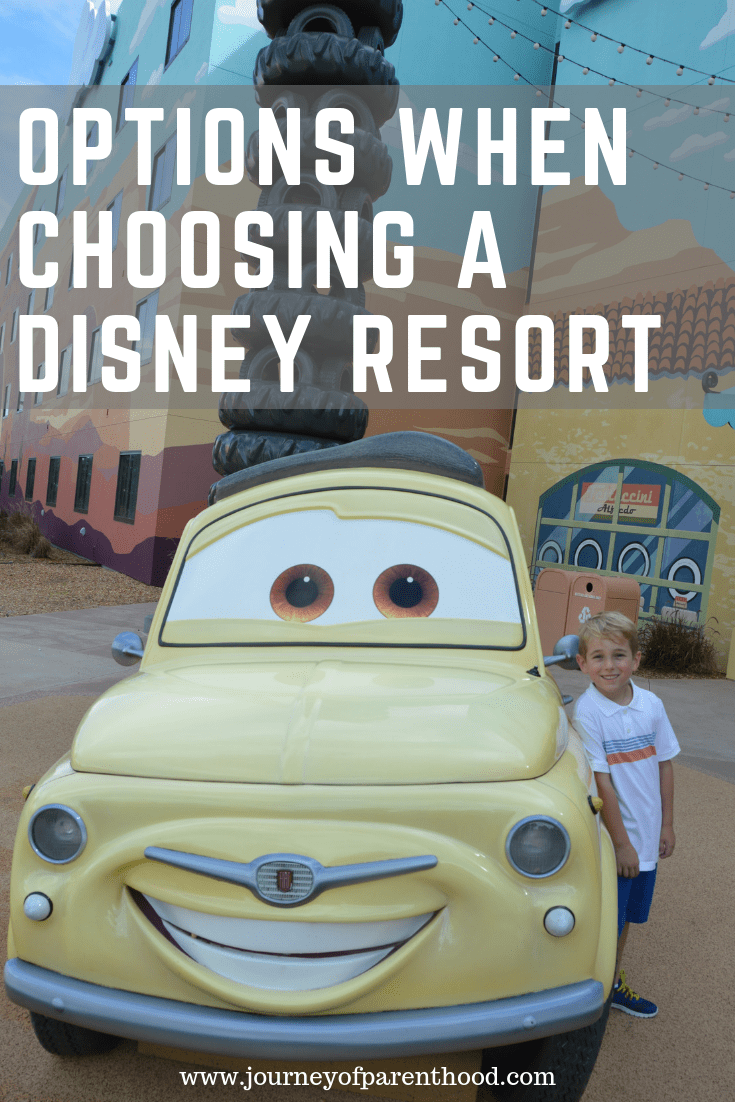 Boy with car at Art of Animation Resort - text reads: options when choosing a disney resort
