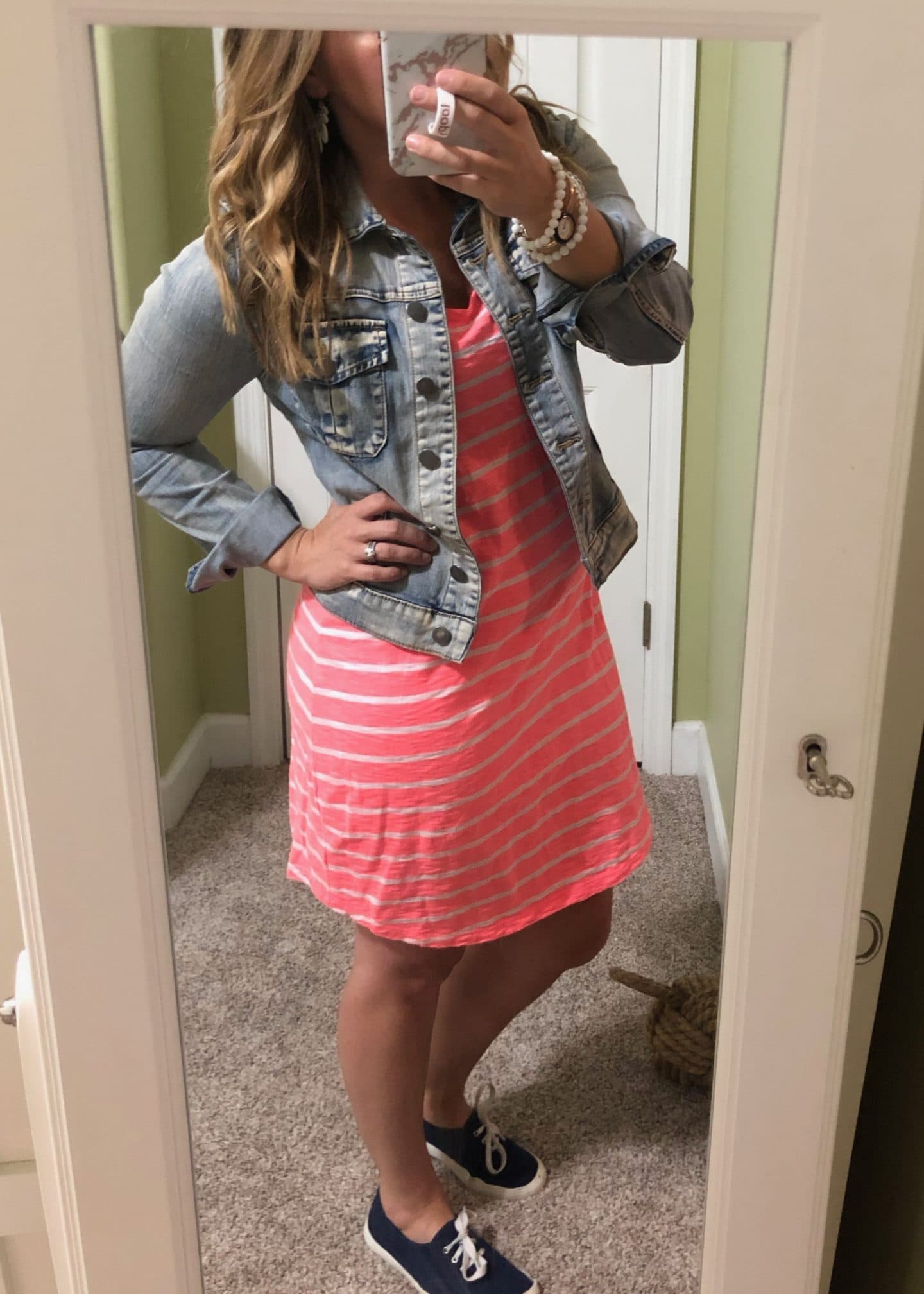 bright pink dress and denim jacket