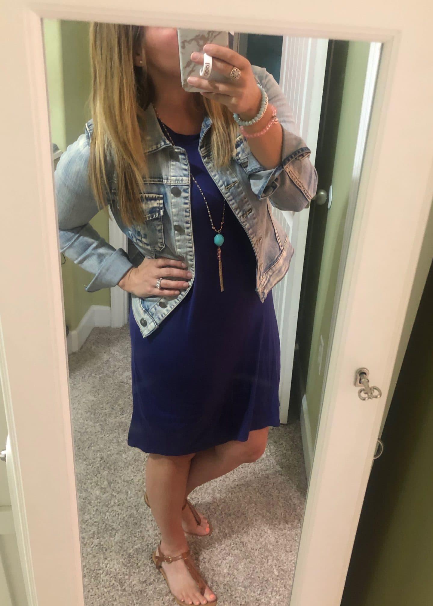 navy dress and denim jacket