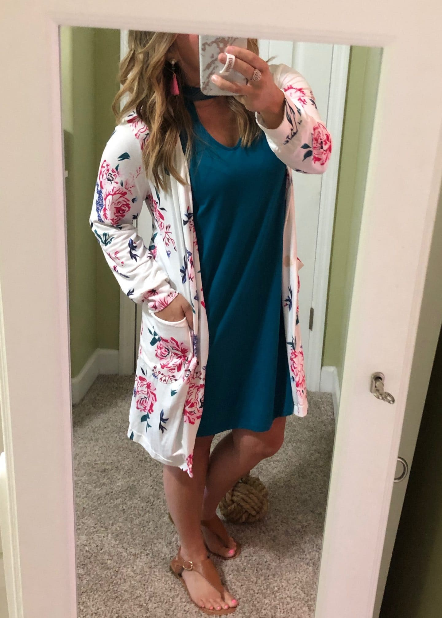 dress and cardigan