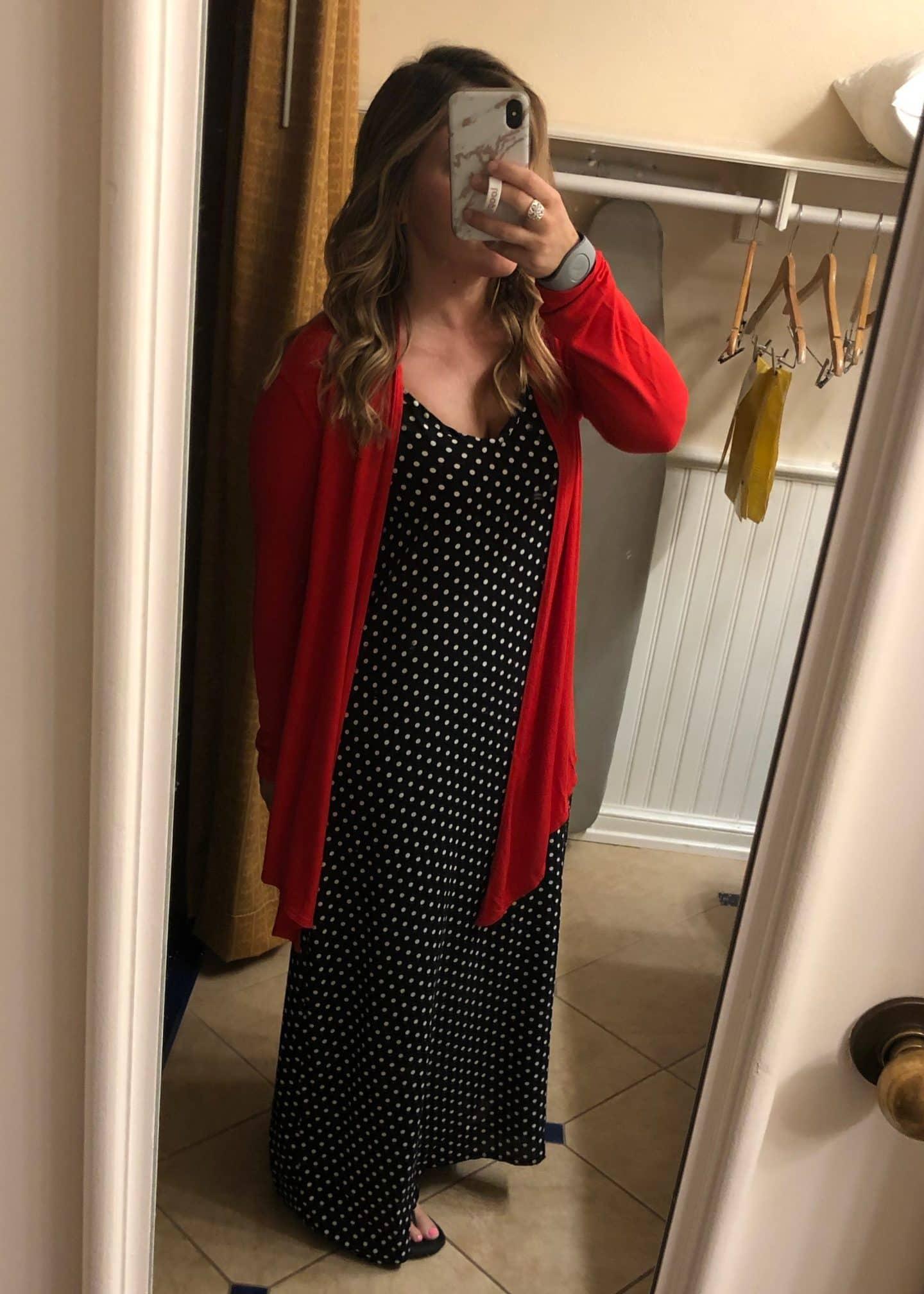 polka dress and cardigan