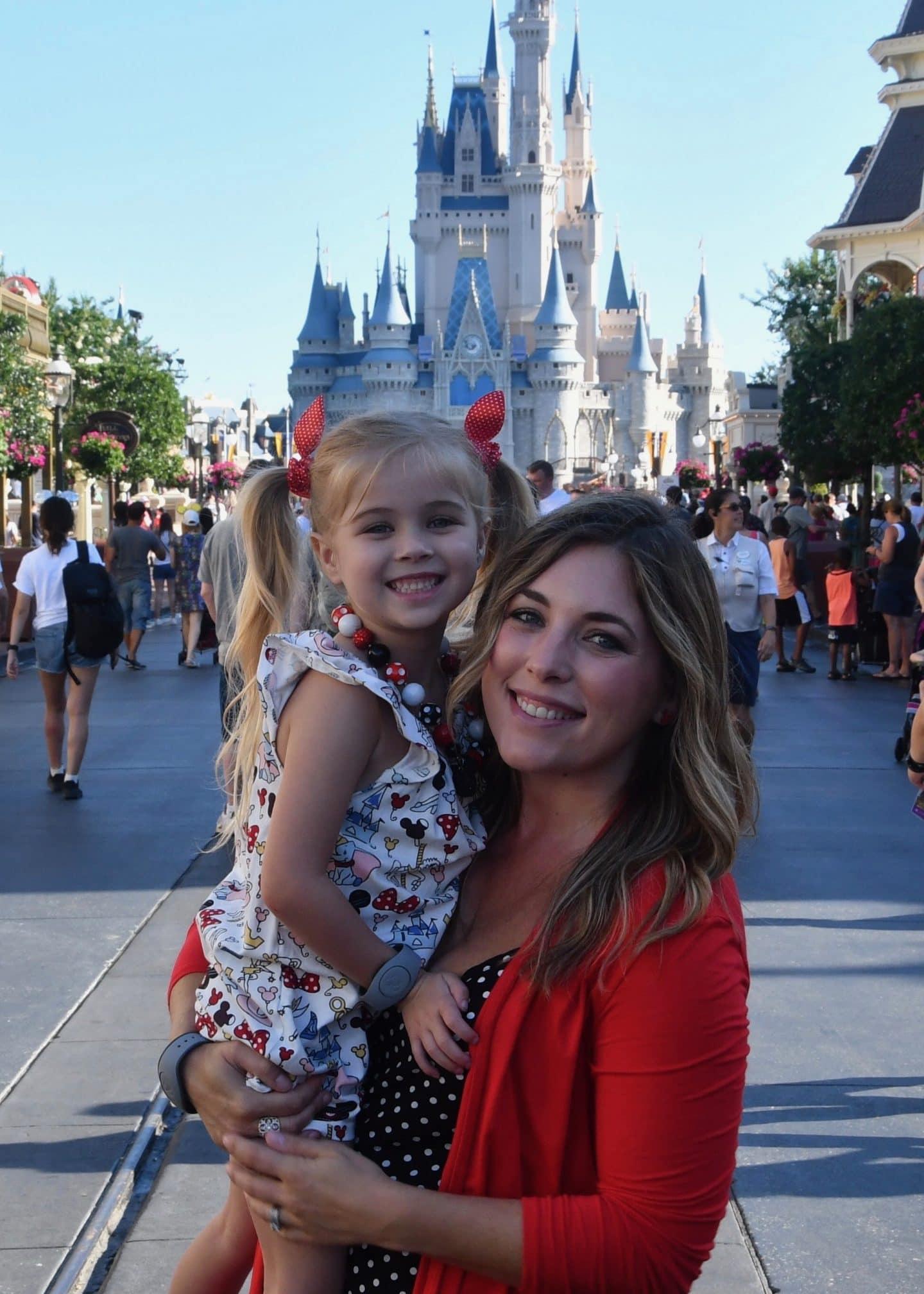 magic kingdom cinderella's castle mother and daughter photos