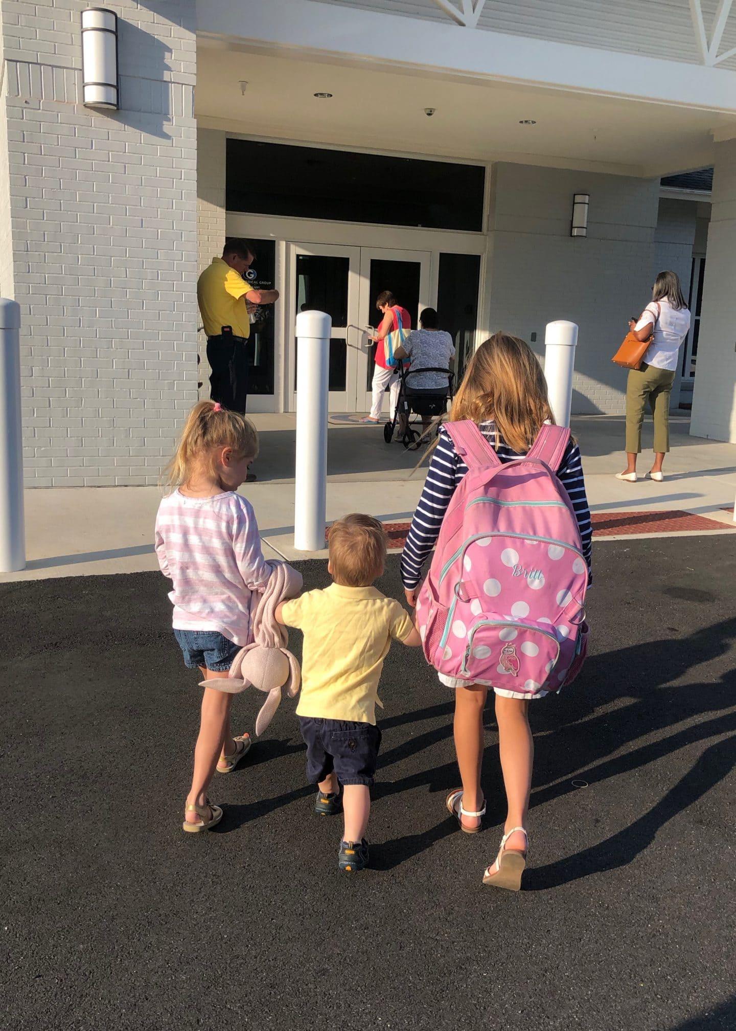 kids walking into dr office