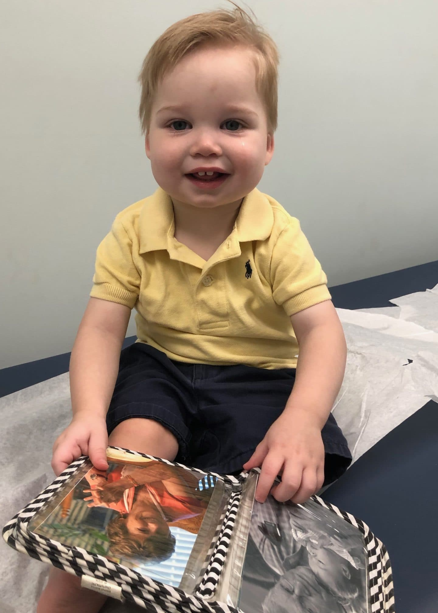 happy toddler at doctor