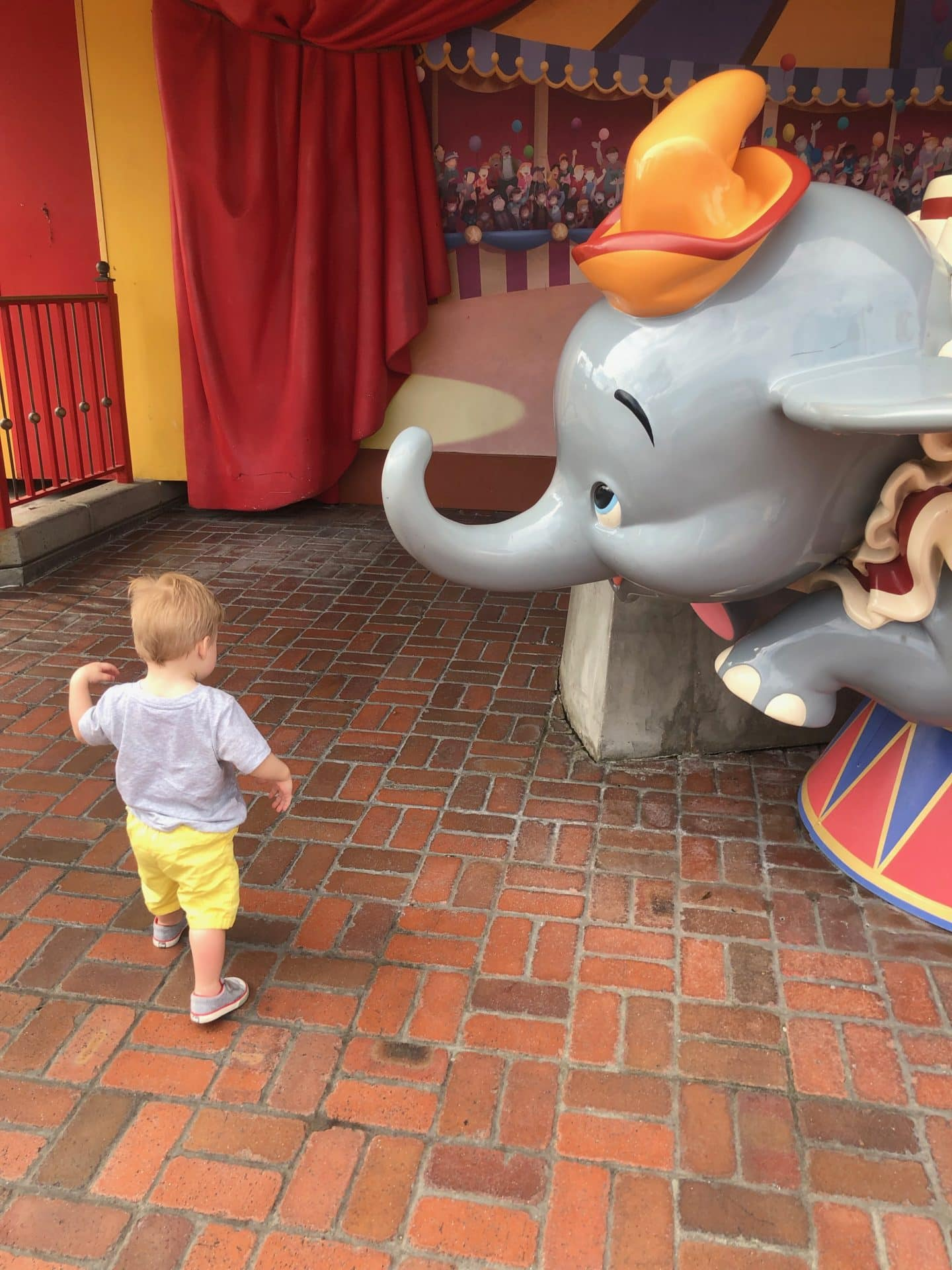dumbo at magic kingdom fantasyland at Disney World with toddler
