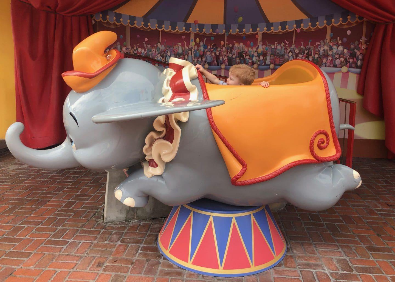 dumbo at magic kingdom fantasyland at Disney World with toddler