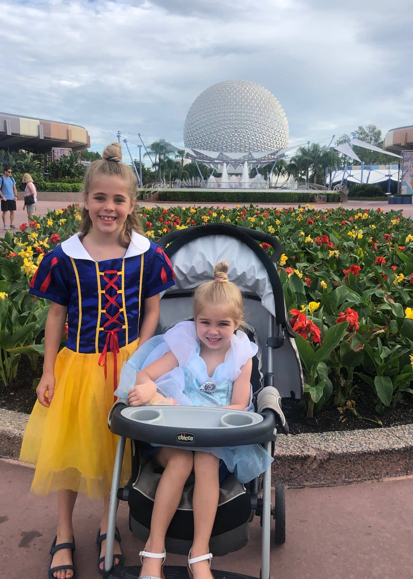 girls in princess dresses at Epcot
