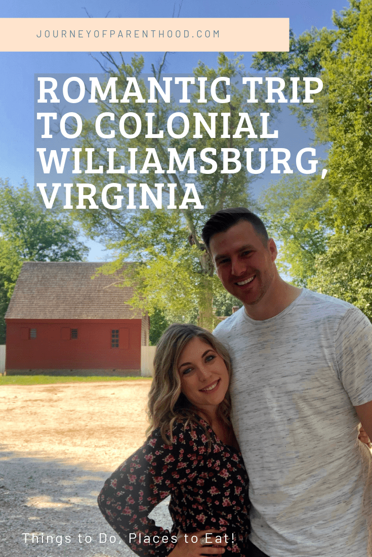 Couple in Colonial Williamsburg with text