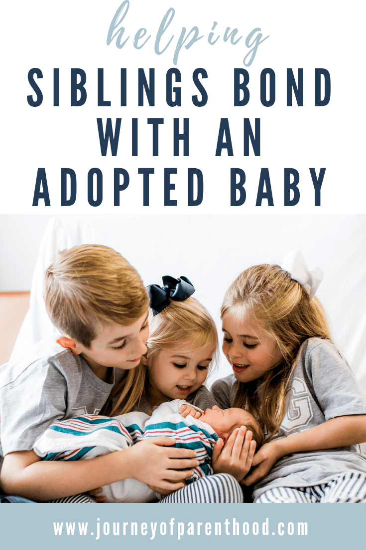 """children holding baby. text reads """"helping siblings bond with an adopted baby"""""""
