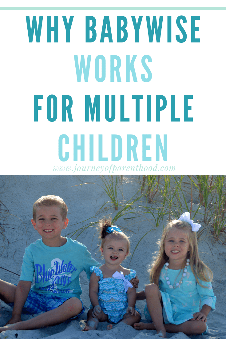 three kids on the beach text says: why babywise works for multiple children