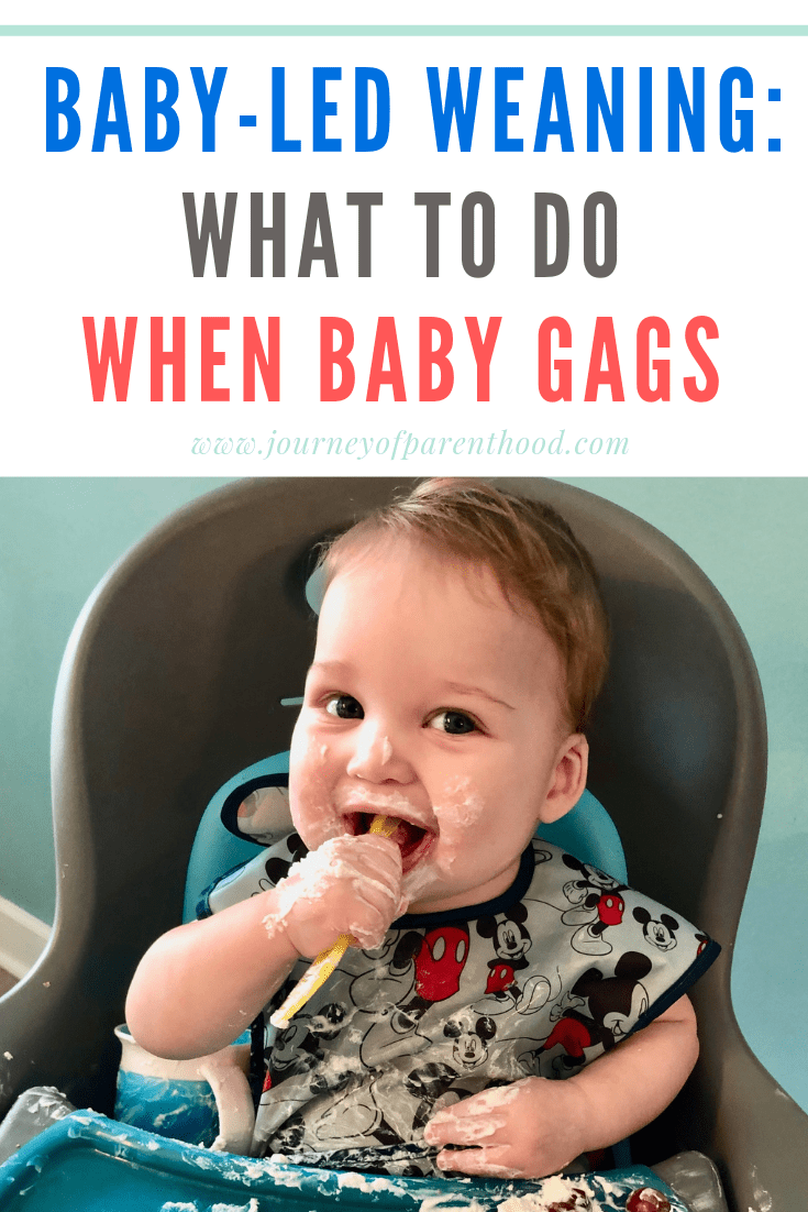 Baby in high chair with spoon and messy food. Text reads: baby-led weaning: what to do when baby gags