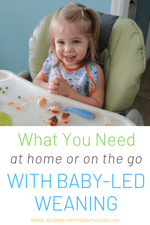 baby in high chair eating food - what you need at home or on the go with baby-led weaning