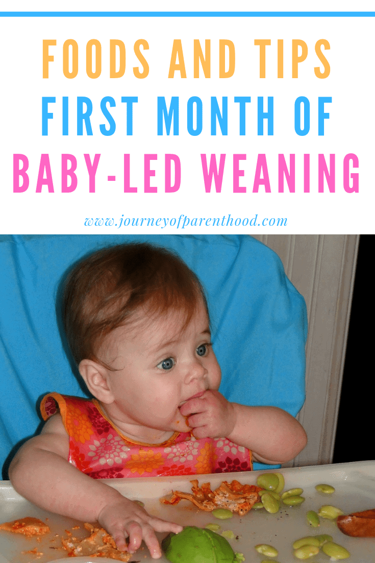 foods and tips for first month of baby led weaning - baby eating in high chair
