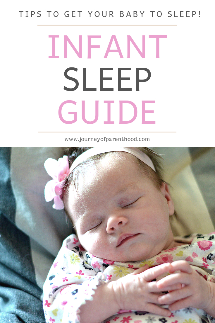 Baby Sleeping Holding Hands - Text Reads: Tips To Get Your Baby To Sleep. Infant Sleep Guide