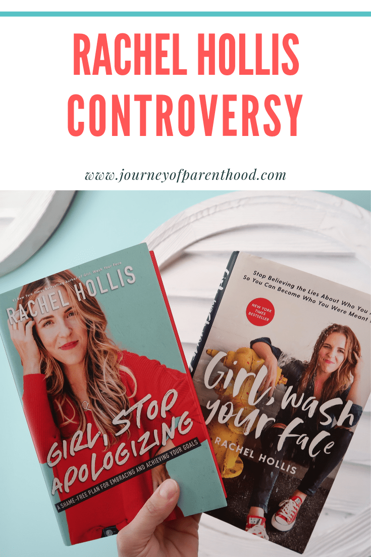 Rachel Hollis girl stop apologizing and girl wash your face. Text reads: Rachel Hollis controversy