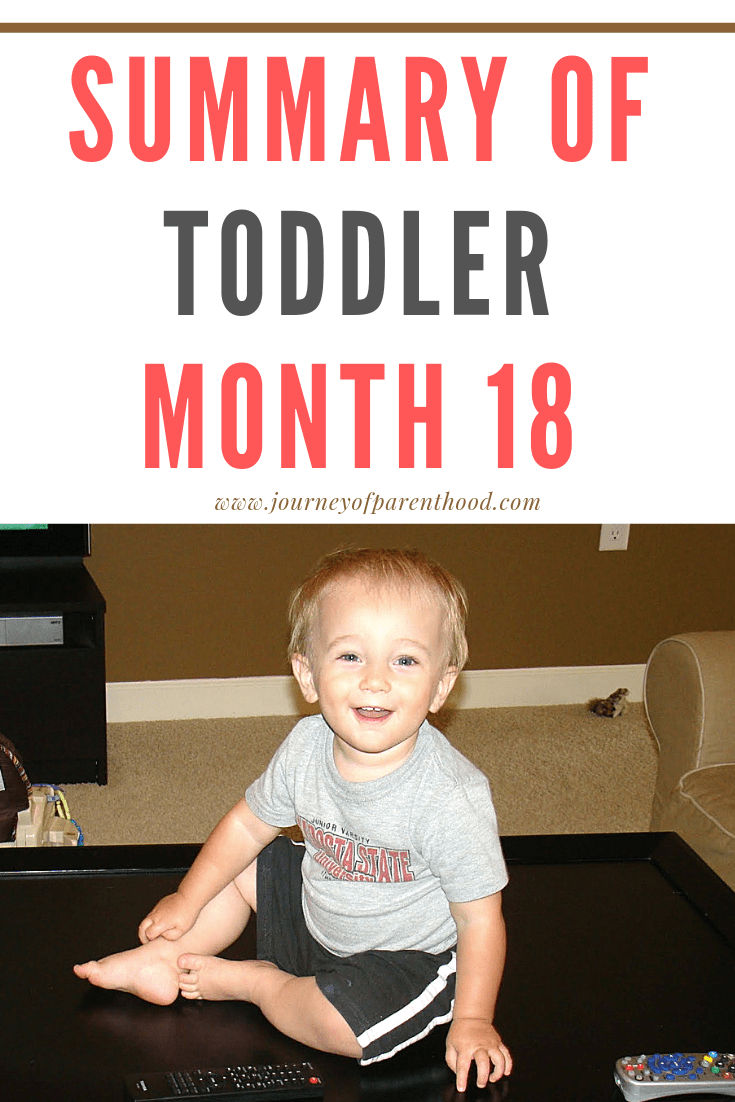 Boy sitting on coffee table - text of summary of toddler month 18