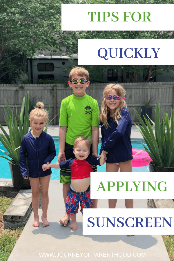 Four kids by the pool with text for quickly applying sunscreen for kids