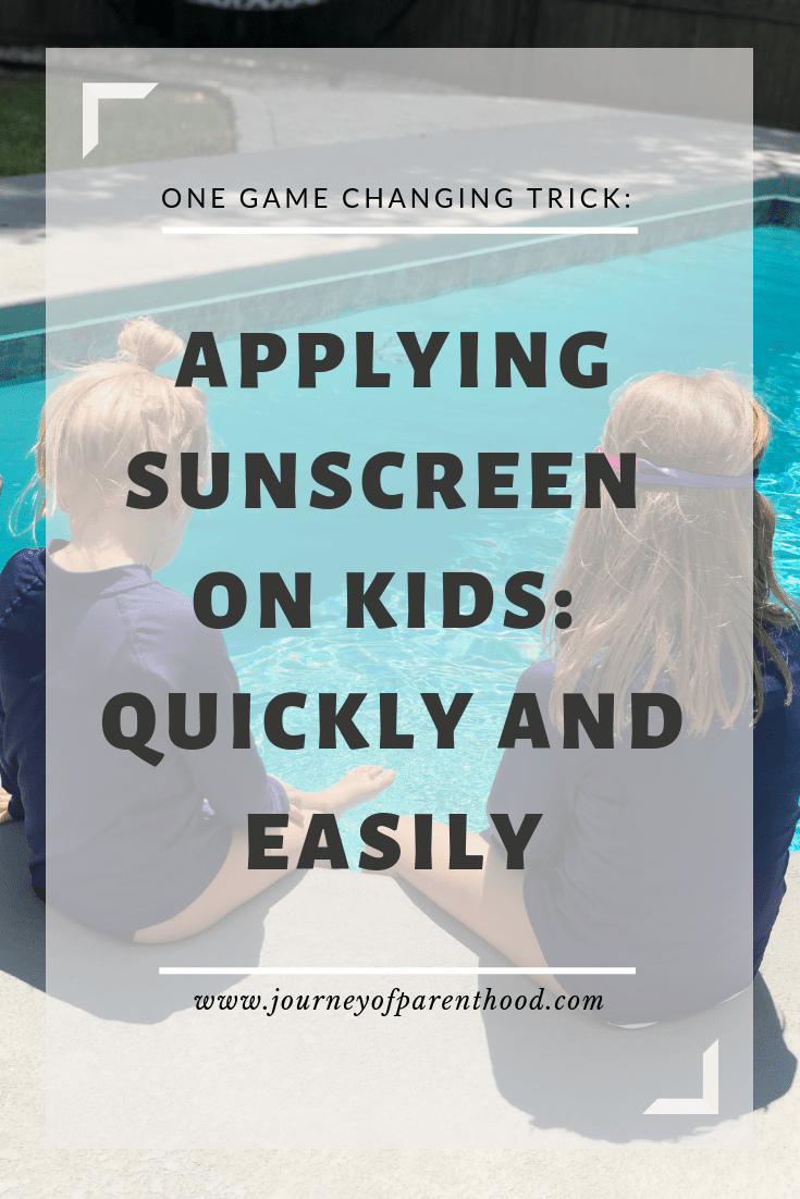 Two girls sitting by the pool: one game changing trick for applying sunscreen on kids quickly and easily