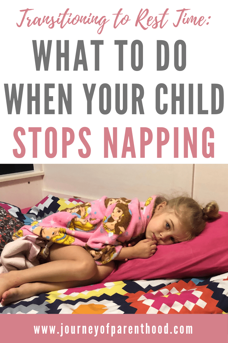 child laying on bed. text says: transitioning to rest time. What to do when your child stops napping.