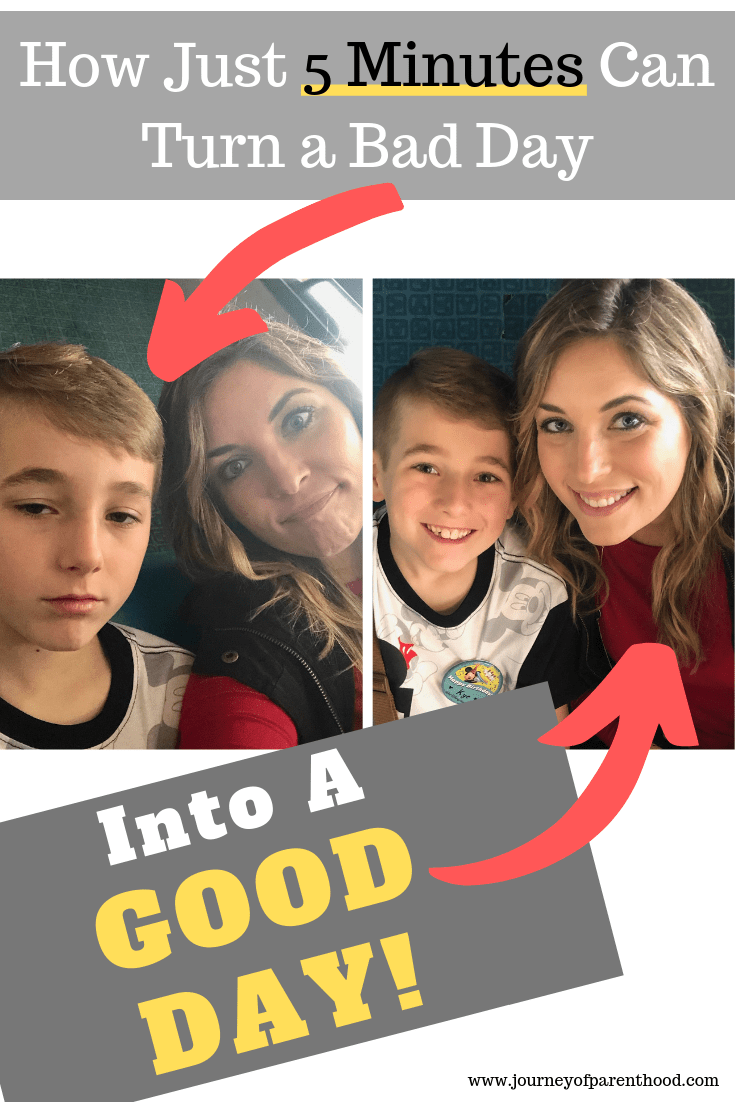 mom and son going from sad to happy - how just 5 minutes can turn a bad day into a good day