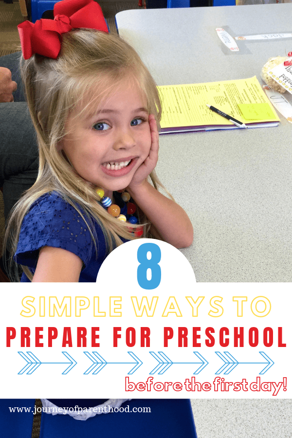 little girl sitting at table text reads 8 simple ways to prepare child for preschool.