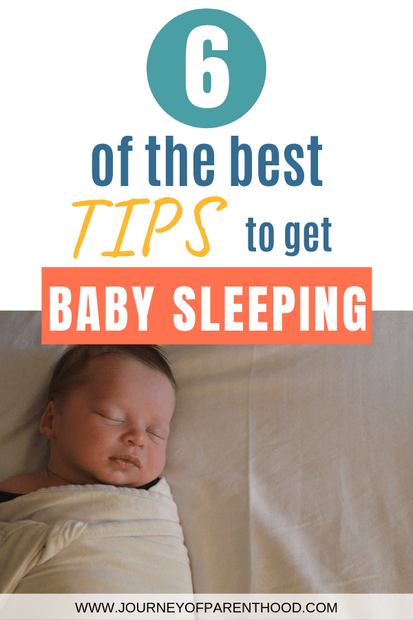 baby swaddled and sleeping - 6 of the best tips to get baby sleeping