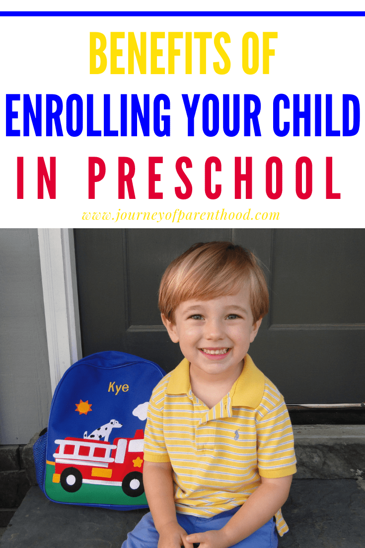little boy with book bag - benefits of enrolling your child in preschool