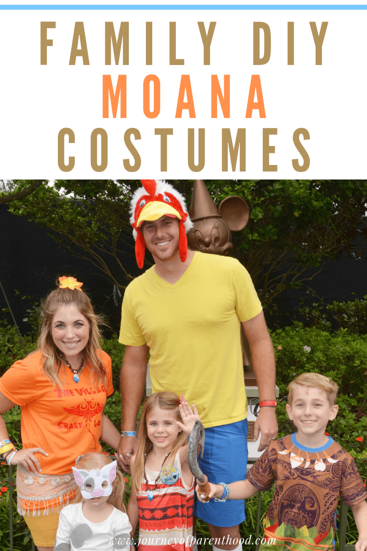 family dressed up in Moana theme for halloween. text reads: family diy Moana costumes