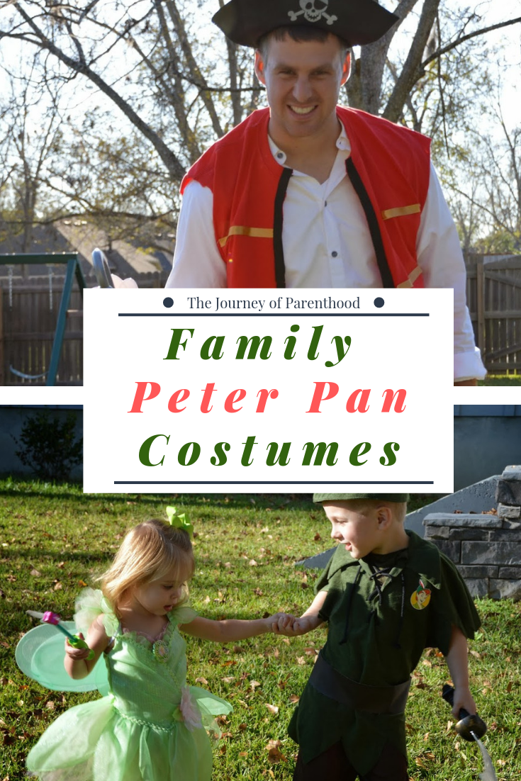 Peter Pan, Tink, Captain Hook family Halloween Costumes
