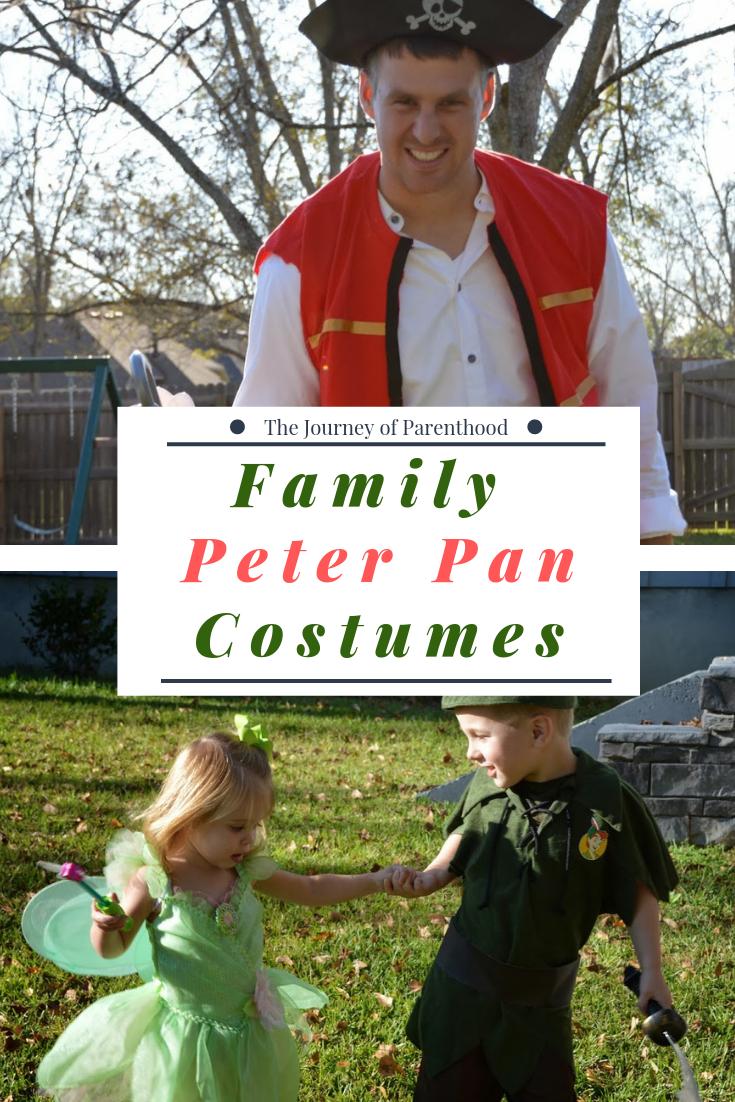 Peter Pan, Tink, Captain Hook family Halloween Costumes