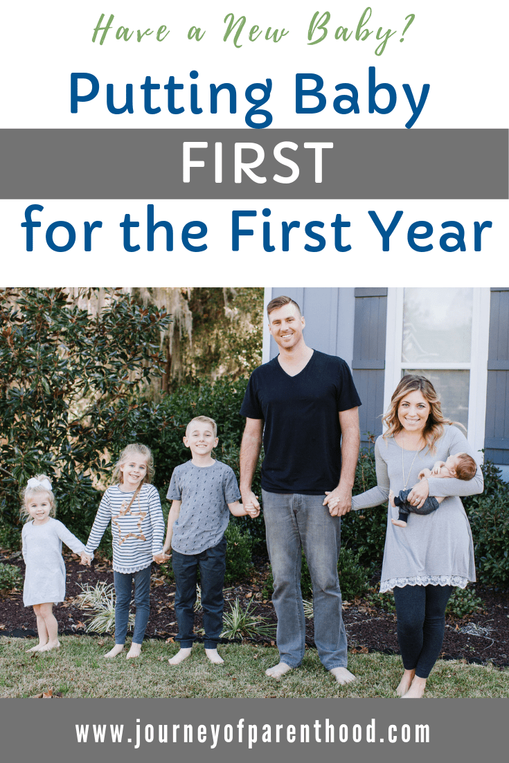 family of 6 - text reads: have a new baby? putting baby first for the first year.