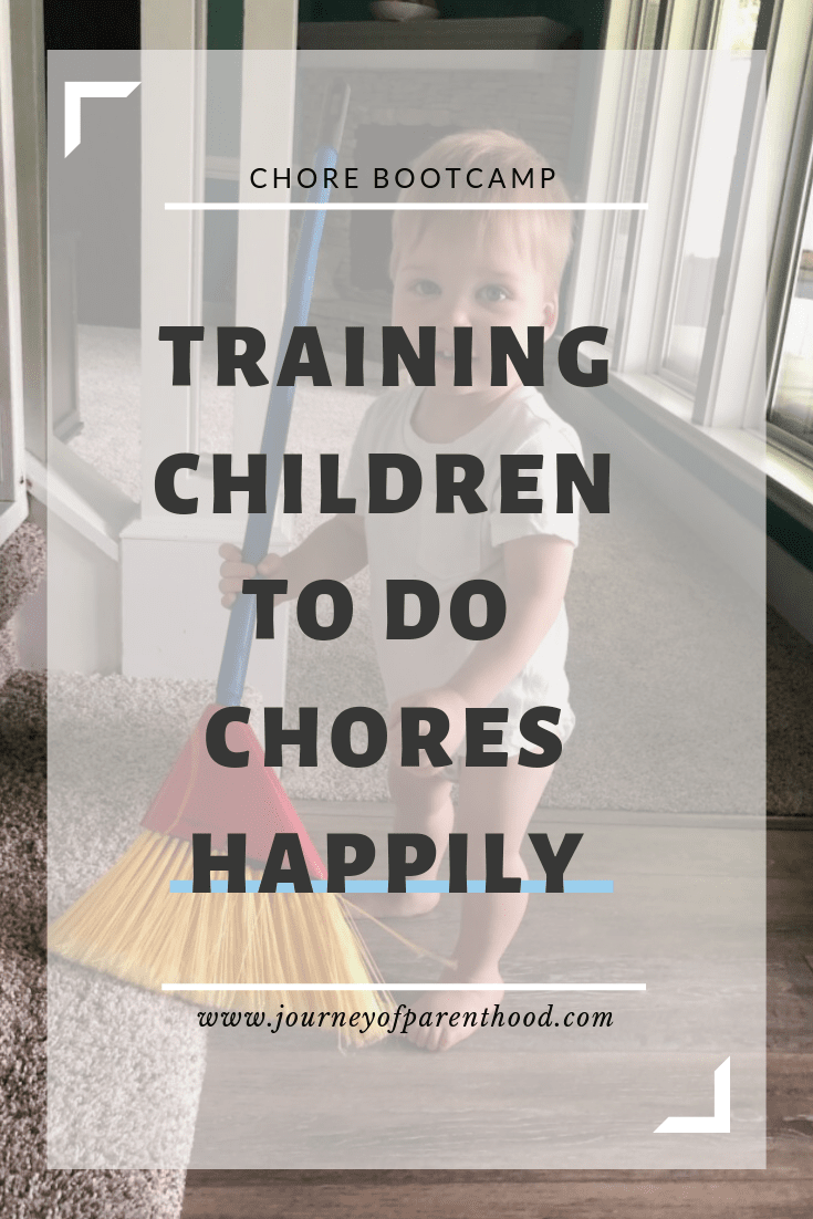 child with broom - training children to do chores happily