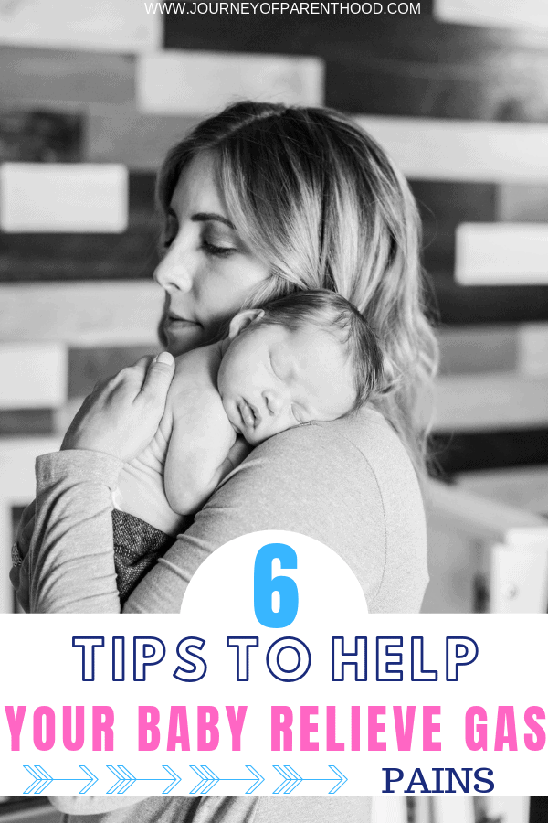 mom holding baby on shoulder - 6 tips to help baby relieve gas pains