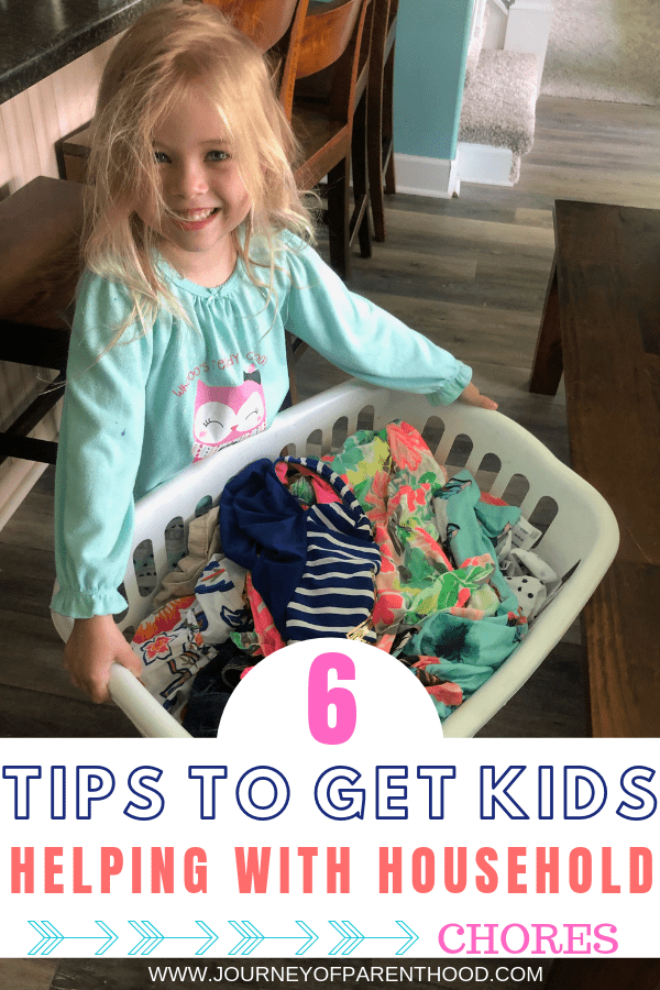 preschooler holding laundry basket - 6 tips to get kids helping with household chores