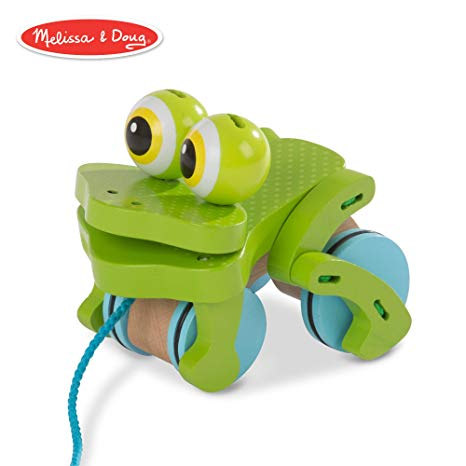 Melissa + Doug First Play Frolicking Frog Wooden Pull Toy