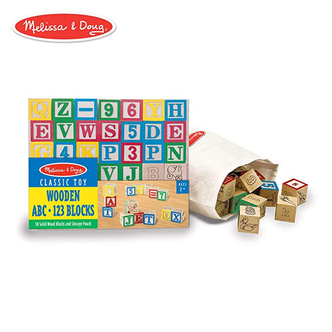 Melissa and Doug Deluxe Wooden ABC/123 Blocks Set