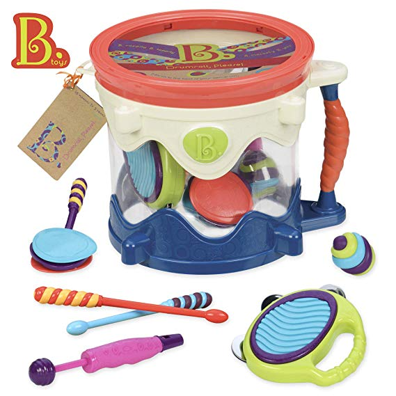 B toys Drumroll Please 7 Musical Instruments Toy Drum Kit